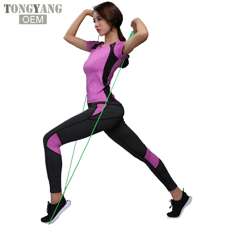 Buy Cheap Women Tracksuit Yoga Set Strip Patchwork Running Fitness Jogging T-shirt Leggings Sport Suit Gym Sportswear Workout Clothing Yoga