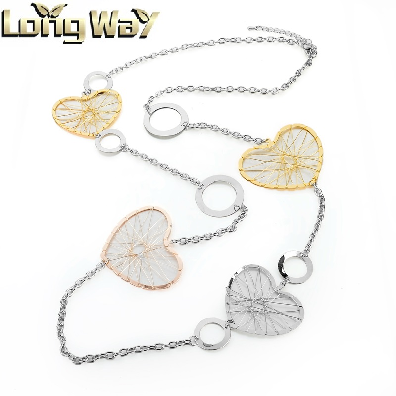 Three Color Plated Long Chain Necklace With Fashion Heart Shape Charm For Women Jewelry