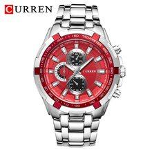 Кварцевые часы CURREN 8023, мужские водонепроницаемые спортивные мужские военные часы, деловые наручные часы из нержавеющей стали, мужские часы(Китай)