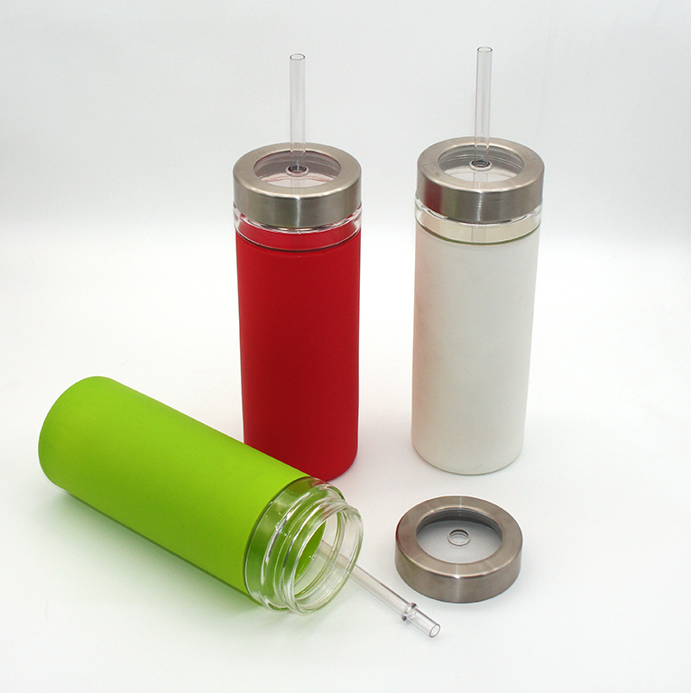 Durable Silicone Insulation Sleeve Glass Tumbler with metal lid, tumbler cups with straws