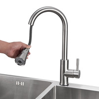 Kitchen faucet pull out sink cold water taps nickel brush stainless steel kitchen faucet for usa