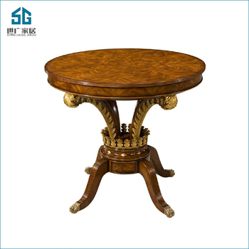Carved small gold frame round villa living room side table