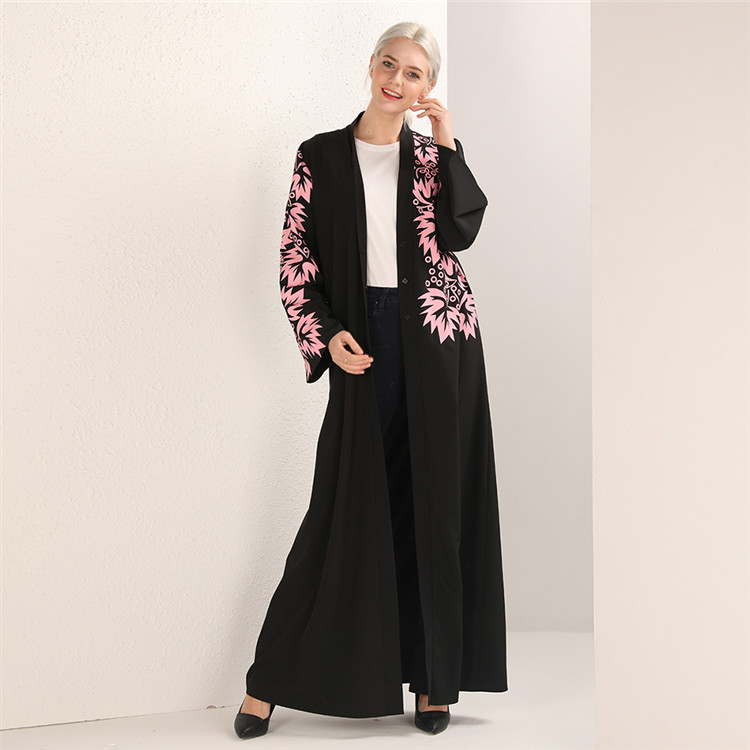2019 new fashion wholesale printed floral black middle east cardigan open kimono abaya