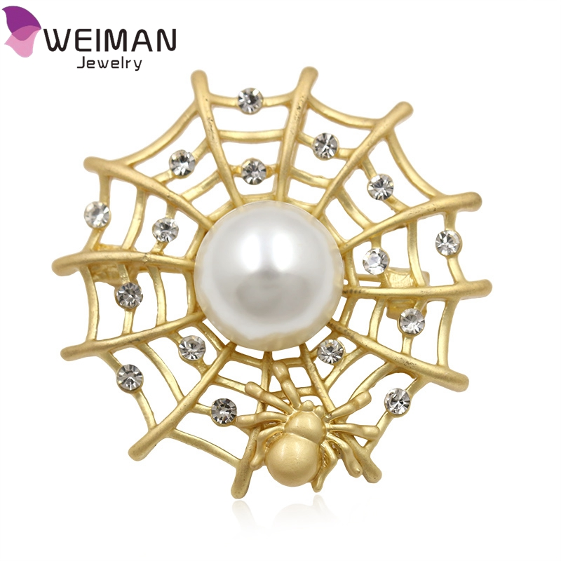 Custom Charm Jewelry Animal Spider Web Brooch for Women Spider Wholesale 2017