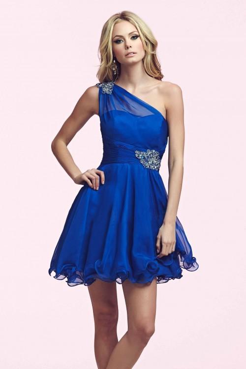 Custom Made Short Prom Dresses One Shoulder Beaded A Line ...