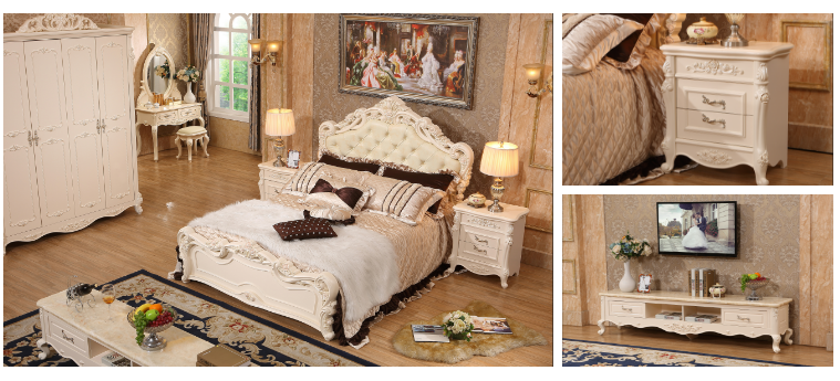 6eaf83c0f4 White & Ivory Baroque Upholstered Antique French Style Bed, View ...