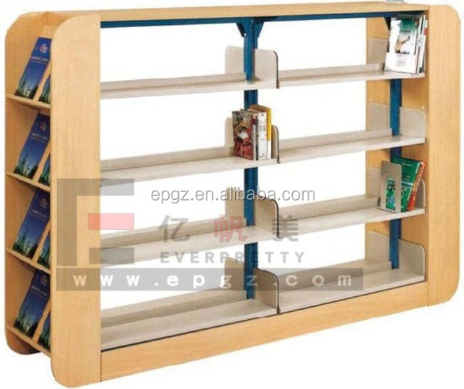 Modern wrought iron bookshelf,library equipment book shelf,cool school wooden bookshelf