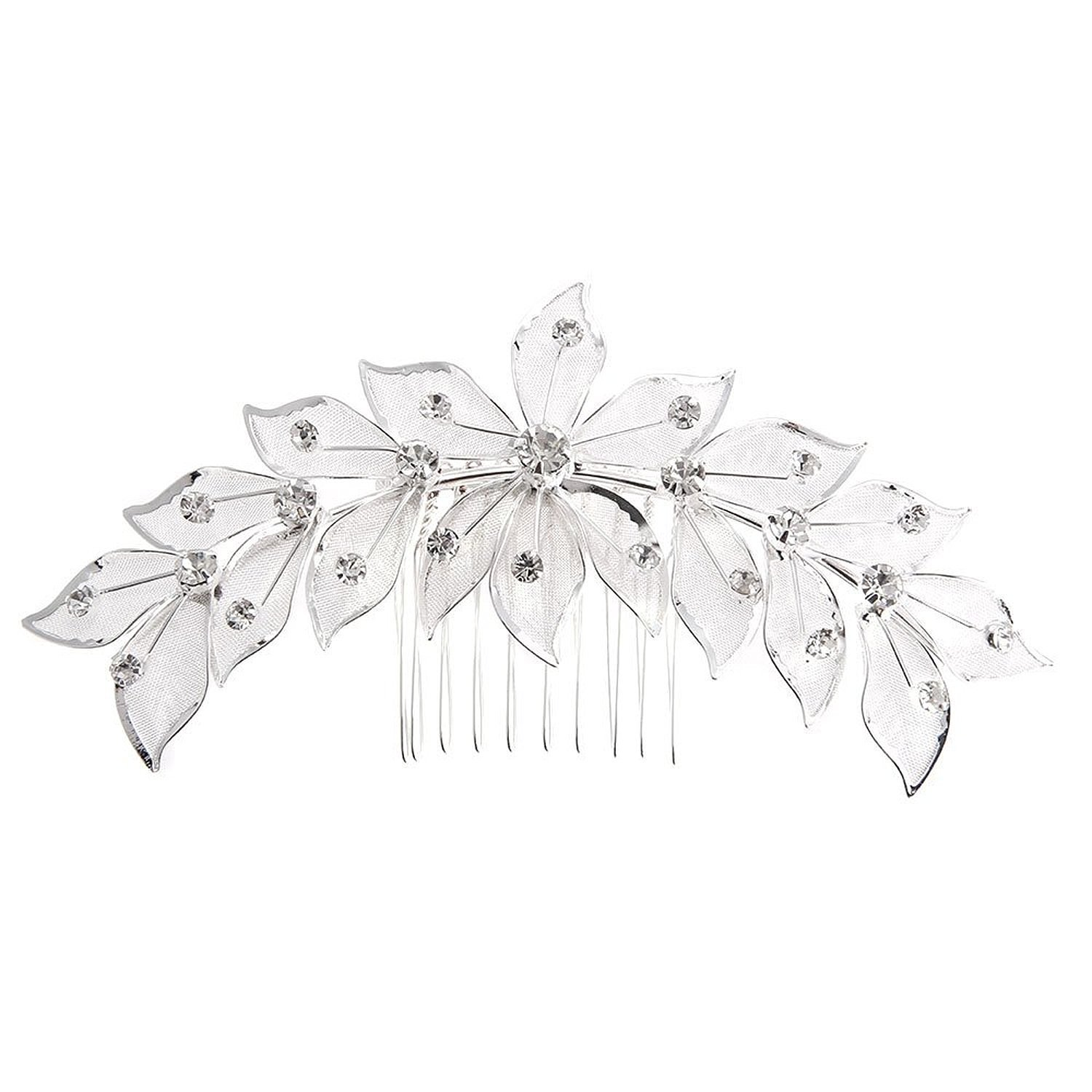Hair comb - TOOGOO(R)Hair comb Silver Plate Zirconia Flower for Young Bride