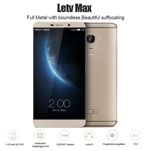 Drop shipping original Letv Le <strong>Max</strong> X900, 4GB+128GB 6.33 inch Android 5.0 Qualcomm Snapdragon810 Octa Core mobile phone