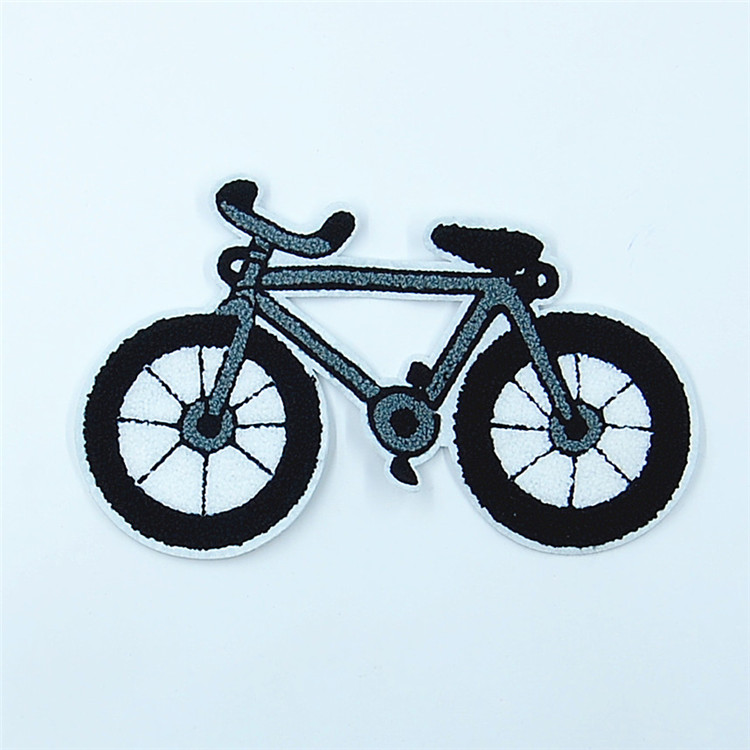 Fashionable good design chenille iron on free bike embroidered patch