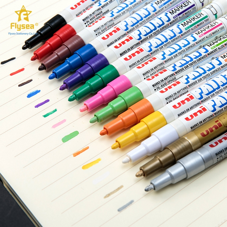 Brand new 14 different ink colored strong covering power permanent industrial uni marker fabric pen