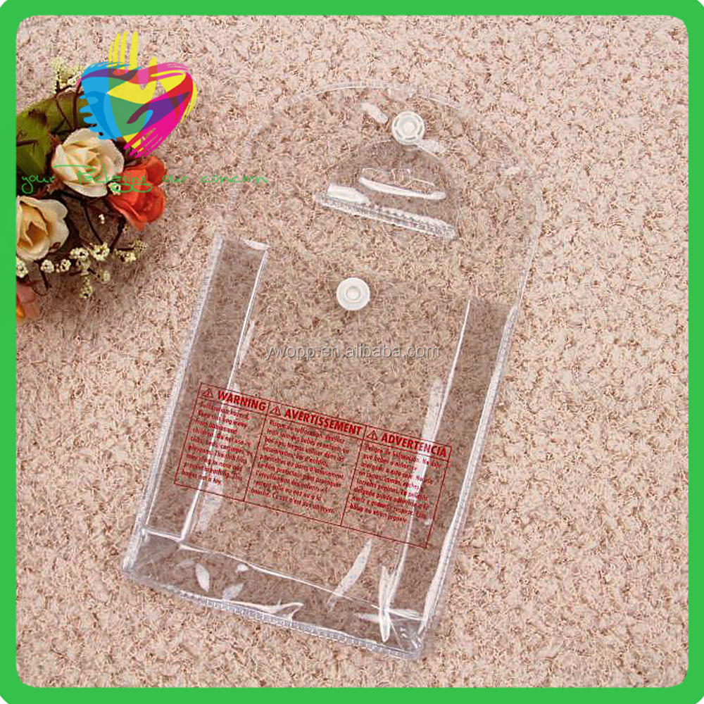 2016 China supplier plastic clear pvc bag with snap button