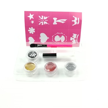 6g Body Glitter Powder + 4ml Gule  +1Brushes +10 Tattoo Nontoxic  Face body Glitter Tattoo Kit