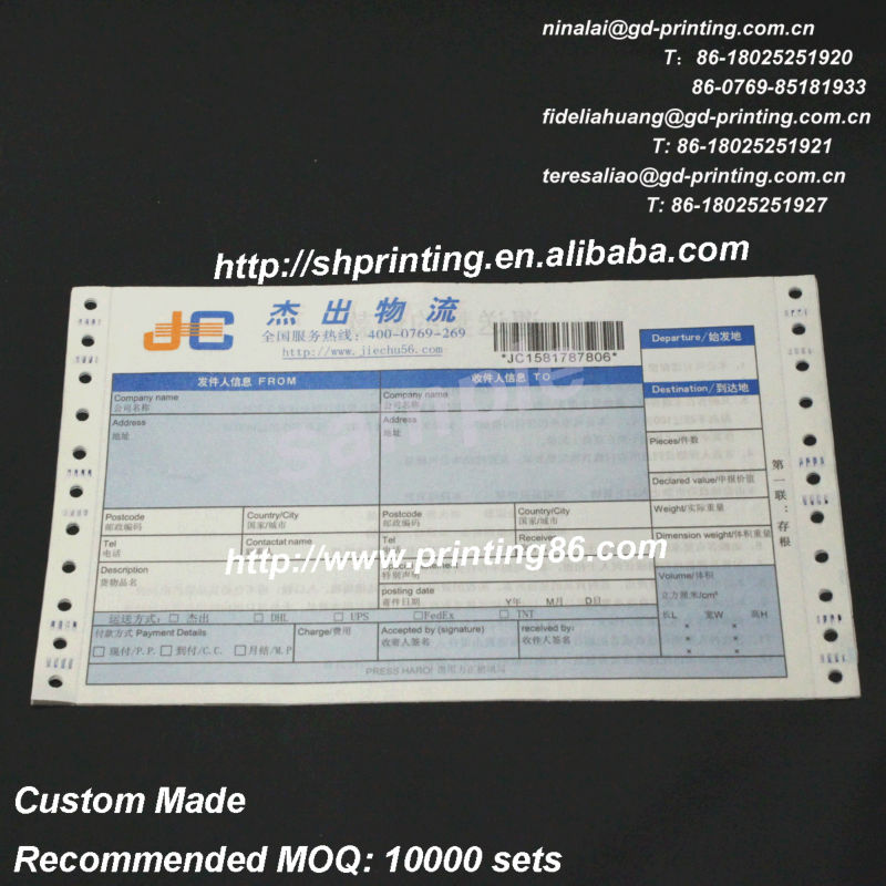 Courier Consignment Note Printing Courier Consignment Note