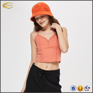 2018 Fashion women pink color v neckline sleeveless cami tops 100% Cotton button front low back casual tank top