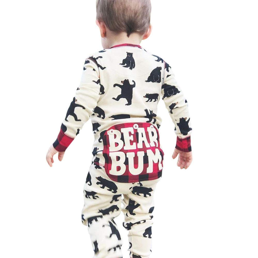 Outtop(TM) Baby Boys Girls Jumpsuits Romper Infant Newborn Cartoon Bear Letter Plaid Homewear Sleepwear Outfits