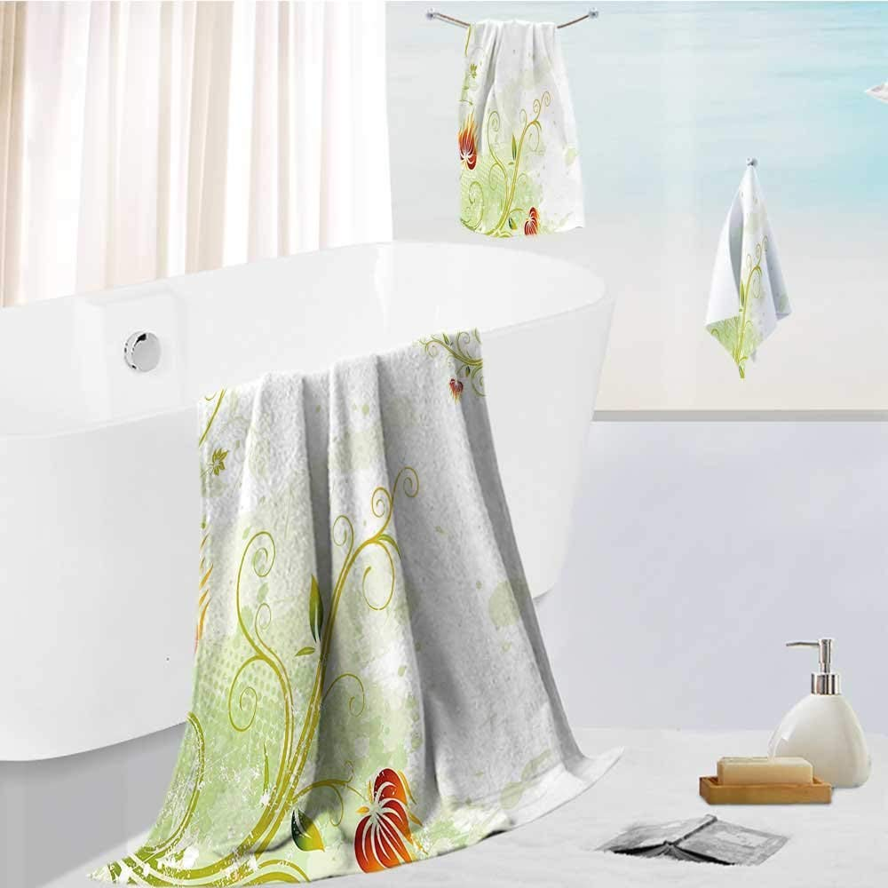"""Miki Da superior bath towel set Swirled Petals Lines on BackgroundScroll Botany Design Light Soft, Extremely Absorbent 19.7""""x19.7""""-13.8""""x27.6""""-31.5""""x63"""""""
