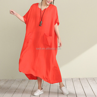 2017 new national cotton & linen loose and comfortable style with pocket plain color short sleeve long women casual dresses