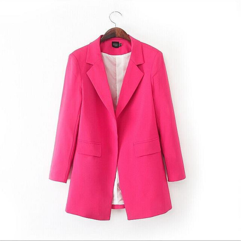 2015 Free Shipping Fashion Solid Long Blazer Women Full Sleeve Ladies Blazer Women Business Suits Formal Office Suits Work Q18