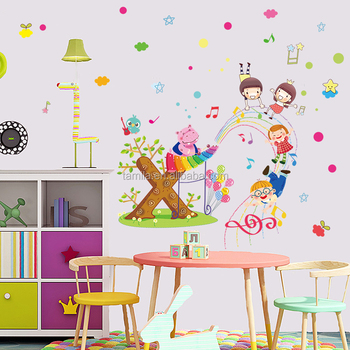 removable pvc wall sticker anak hewan wall sticker hippo musik