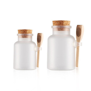 200ml frosted ABS plastic bottle bath salt jar with spoon and wooden stopper