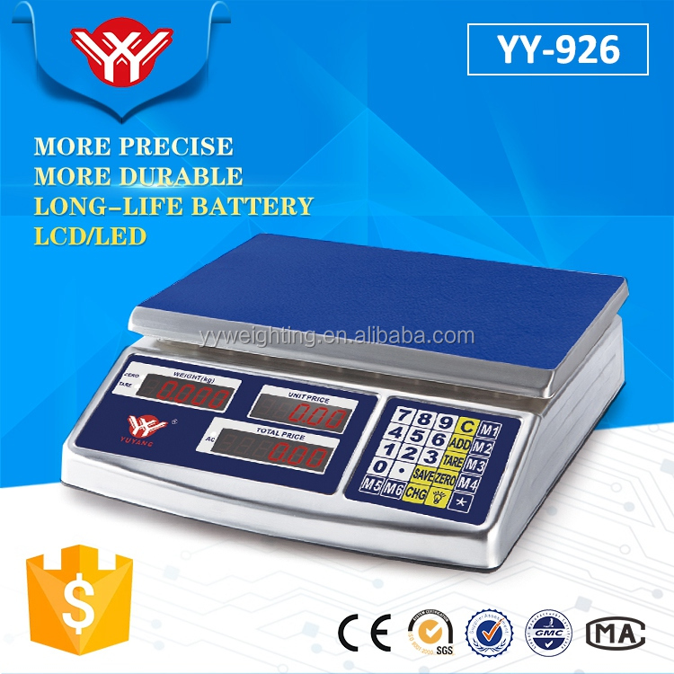 Precision Stainless steel rechargeable battery for 25kg digital weighing scale YY-926 table top weighing scale