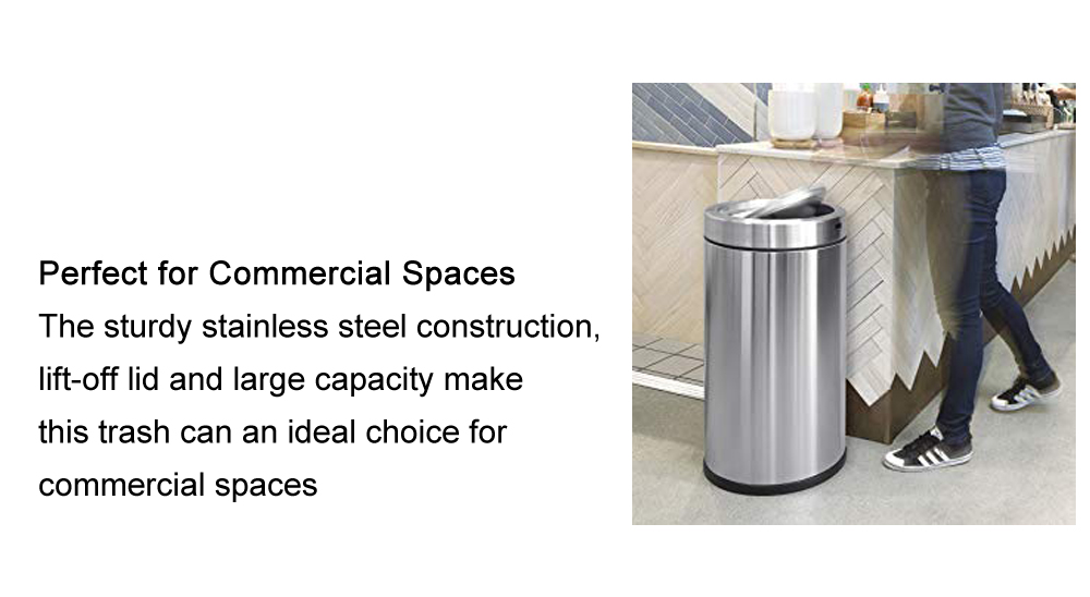 Kindle Swing Top Trash Can, Commercial Grade, Stainless Steel, 55 L / 14.5 Gal