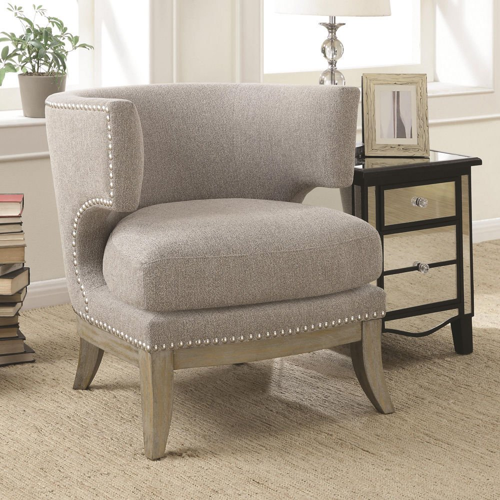 Get Quotations · 1PerfectChoice Unique Upholstered Accent Chair Barrel High  Curved Back Nailhead Trim Fabric NEW Color Grey