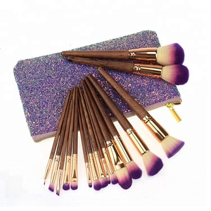 Hot selling 17 pcs new makeup brush supplier private label glitter bag makeup brush