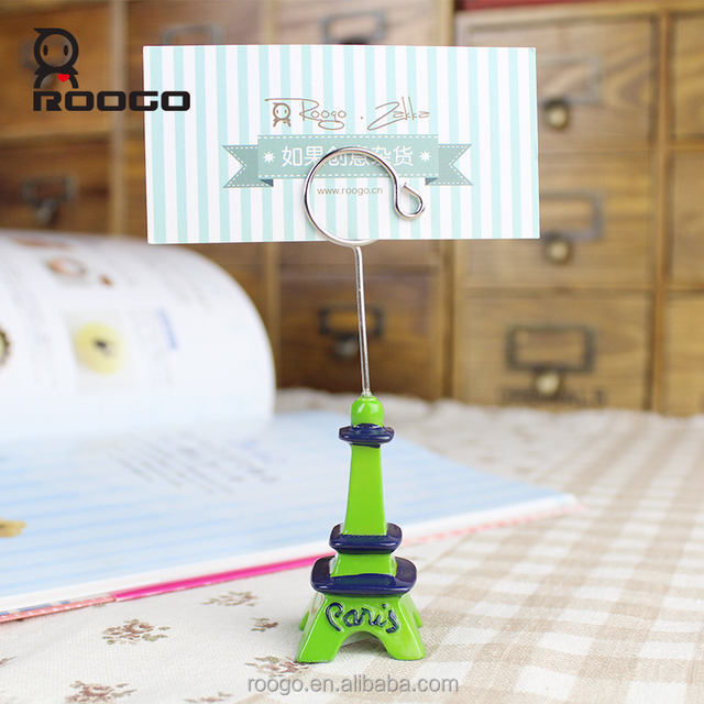 Roogo hot ideas polyresin cast green eiffel tower name card holder for office figure