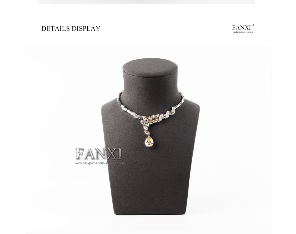 Wholesale factory custom luxury resin wrapped with microfiber jewellery shop display necklace exhibitor mannequins