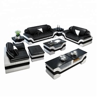Factory WholeSale Living room 123 sectional sofa set Black and white Leather Cushions Sofas set for France Big Market