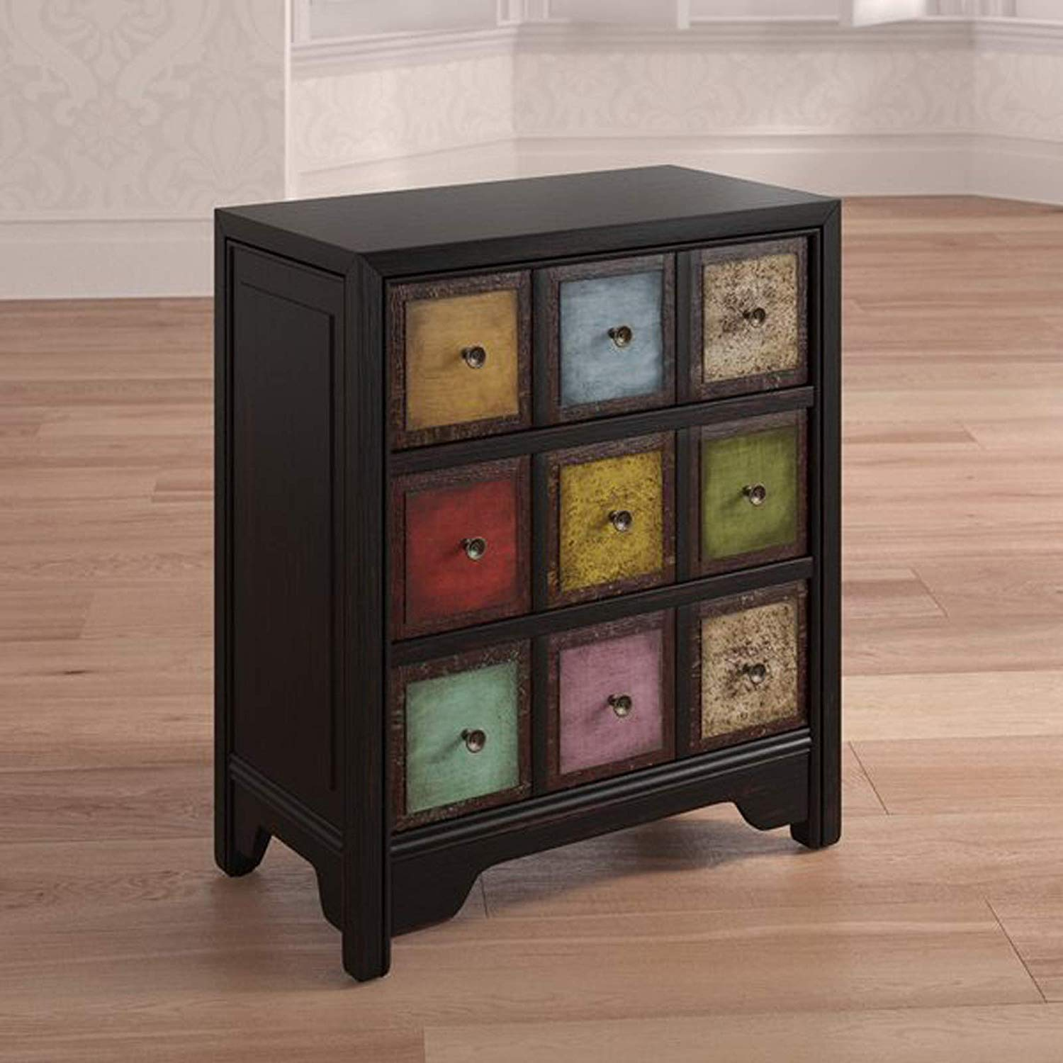 Solid Wood 3 Drawer Dresser - Contemporary Chest Drawers Clothes Storage Cabinet - Bedroom Dressing Organizer - Traditional Style Accent Cabinet