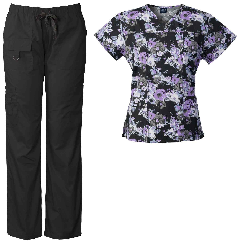 f920facfa7c Get Quotations · Medgear Women's Scrubs Set Multi-Pocket Top & Pants,  Medical Uniform MBLK