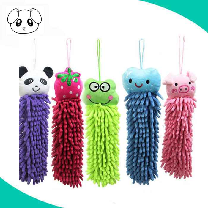 Quick dry lovely animal head mini roll hanging kitchen hand towel