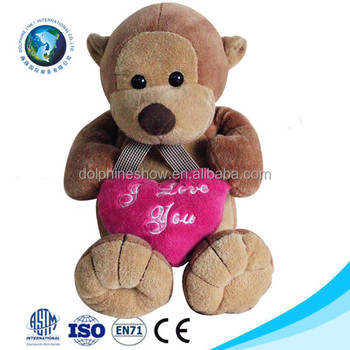 2018 Valentine Day Gift Lovely Stuffed Animal Soft Toy Hanging Monkey Plush  Toys With Pink Heart