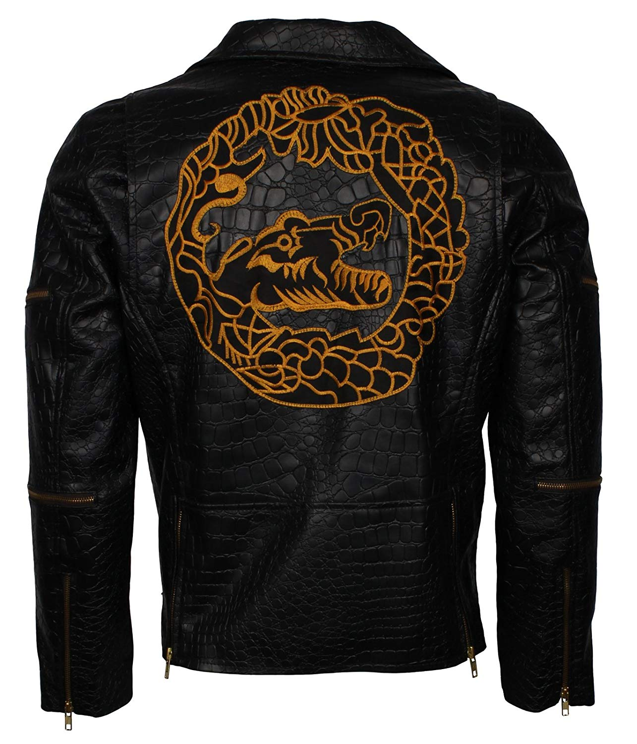 Herts Leather Mens Party Wear Biker Style Real Leather Jacket In Black Crocodile Skin Design