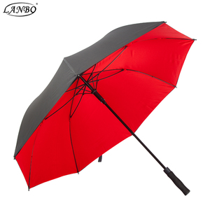 auto advertising bright red simple golf umbrella with customizing logo printing