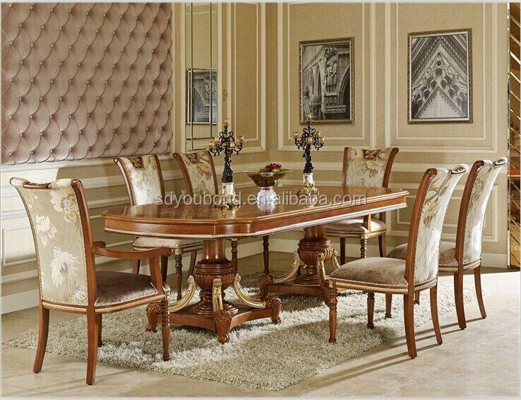 0062 Barocco In Legno Design Italiano Lungo Tavolo E Sedie