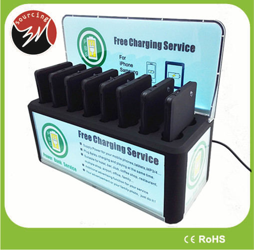 8pcs Power Bank Charger 5V 2A 4000mAh Public Wall Mounted Mobile Phone Charging Station with 2pcs Built-in Cable