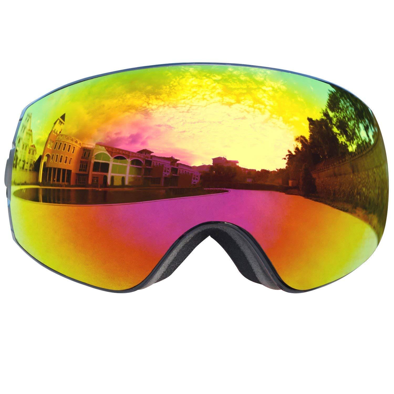 FGN Ski Goggles for Men Women with UV Protection Anti-fog Detachable Lens, Snowmobile Snowboard Skate OTG Goggles Helmet Compatible , Black