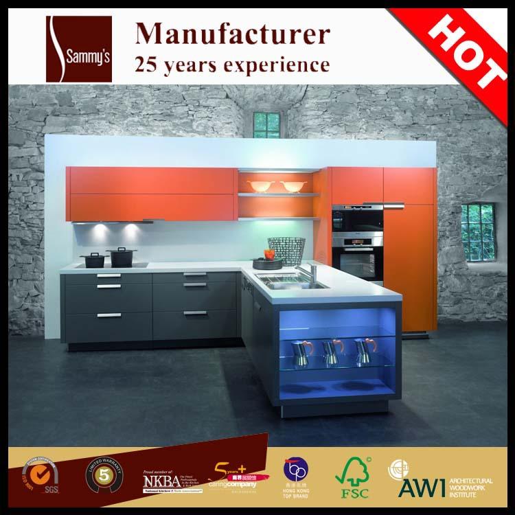 High Quality Luxury Pre Assembled Fiberglass Wood Kitchen ...