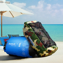 IPX7 camo waterproof swimsuit dry bag with front mesh pocket
