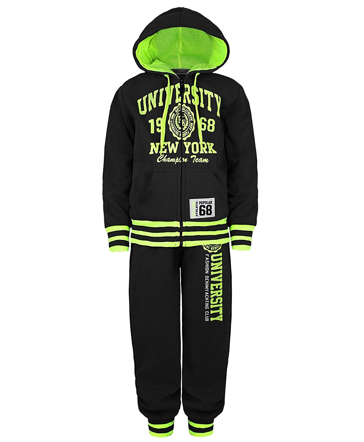 Kids Boys Girls Tracksuit Contrast Set Full Sleeve Zipper Hoodie Fleece Bottoms Top Jogging Jogger Gym School Clothing