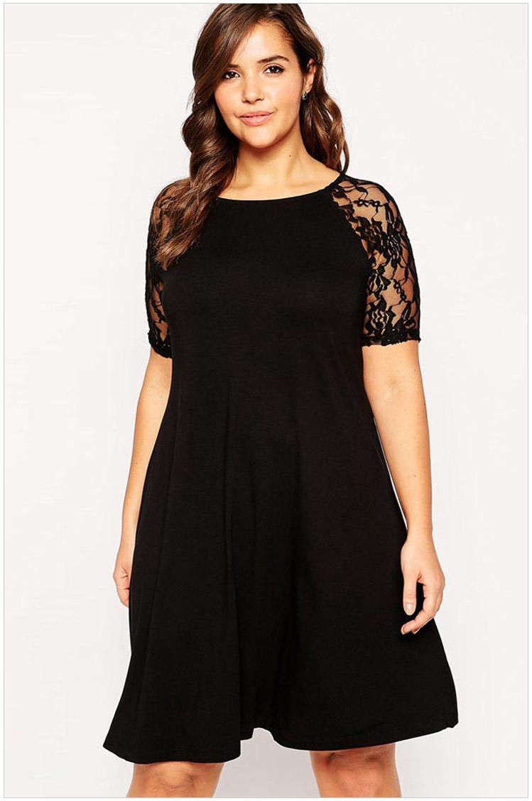 20c774dbc35 Get Quotations · women plus size dresses 2xl Black Lace loose dresses for  autumn party solid short sleeve Casual