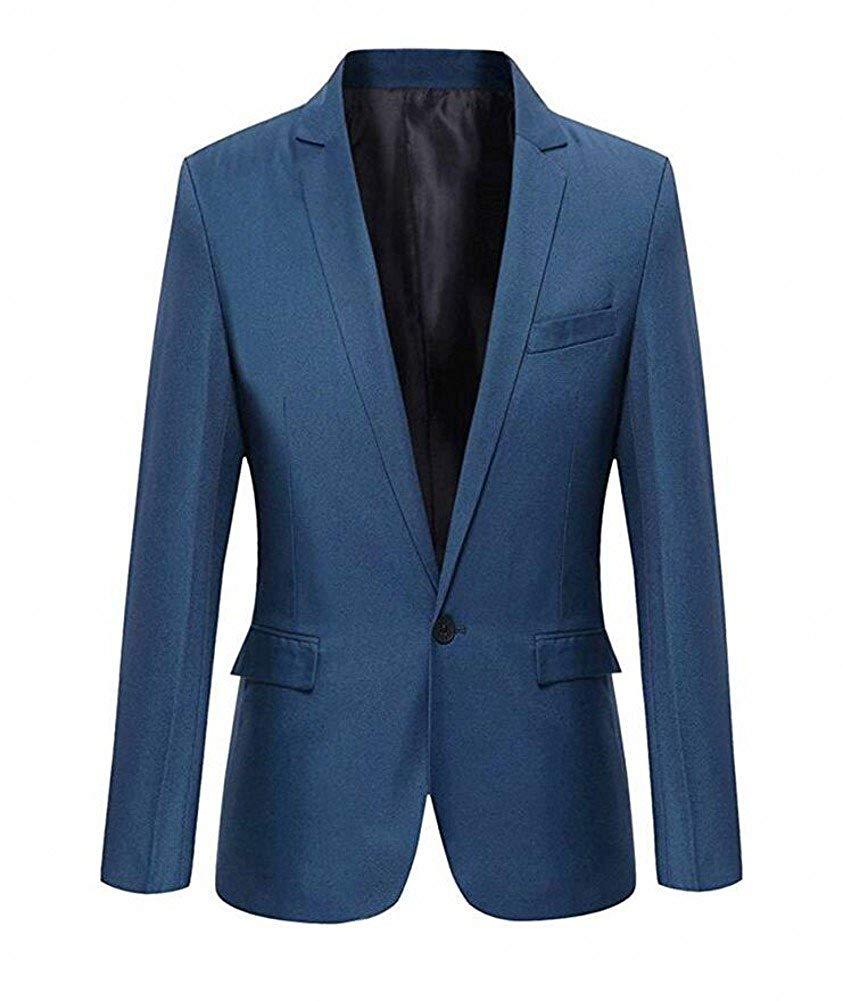 HZWL Mens Two Button 4-Pieces Suit Slim Fit Vested Dress Suit Set Blazer Jacket Pants Tux Vest Tie Elegant Blue,XXL /£
