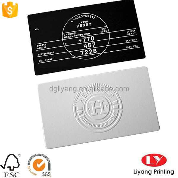 Customized cotton paper business card with logo embossed