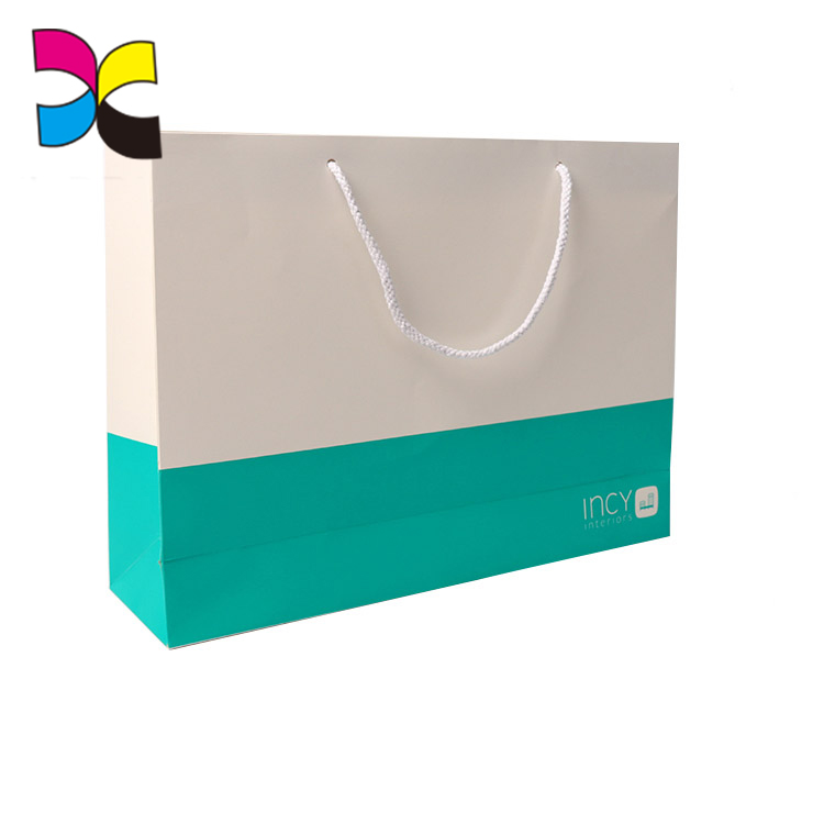 White color boutique logo recyclable reusable foldable custom printed paper straw shopping bag