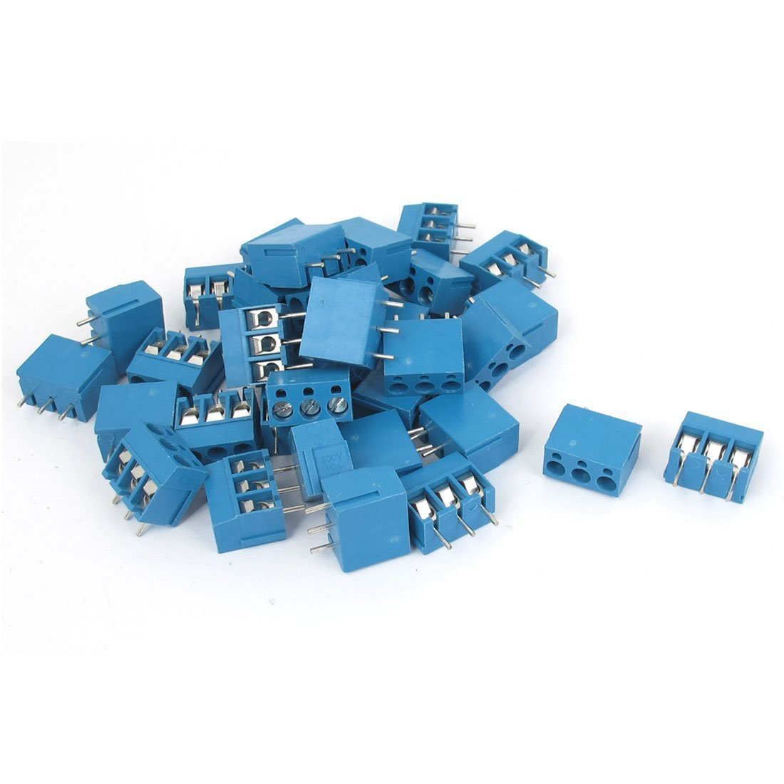 Uxcell a15111000ux0072 AC 300V 10A 3 Poles 5mm Pitch Pcb Mount Terminal Block Connector 35Pcs
