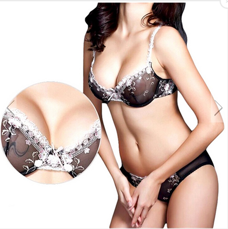 8e9752a842f Get Quotations · woman temptation Sexy Ladies Bra Set Women Lace Floral Sheer  Lingerie Bras Knickers Black